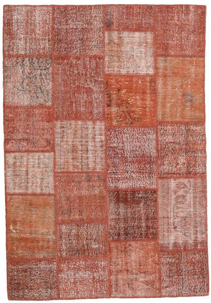 Patchwork Matto 159X231 Moderni Käsinsolmittu Ruskea/Vaaleanpunainen (Villa, Turkki)