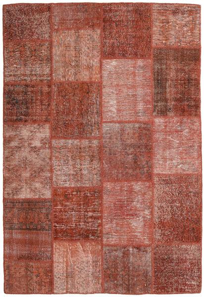 Patchwork Matto 158X233 Moderni Käsinsolmittu Ruskea/Tummanpunainen (Villa, Turkki)