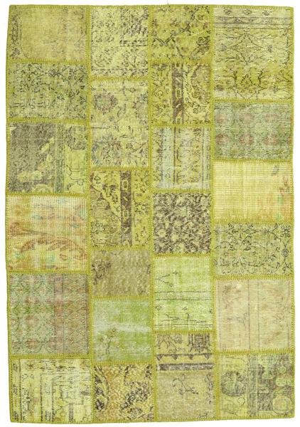 Patchwork Alfombra 138X202 Moderna Hecha A Mano Verde Claro/Verde Oliva/Amarillo (Lana, Turquía)