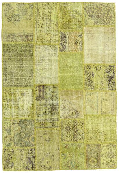 Patchwork Alfombra 138X205 Moderna Hecha A Mano Amarillo/Verde Oliva (Lana, Turquía)