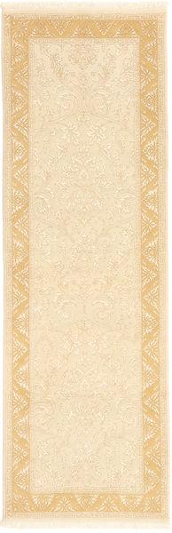 Tabriz Royal Matta 79X243 Äkta Orientalisk Handknuten Hallmatta Beige/Gul/Mörkbeige ( Indien)