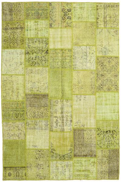 Patchwork Matto 199X302 Moderni Käsinsolmittu Vaaleanvihreä/Keltainen/Oliivinvihreä (Villa, Turkki)