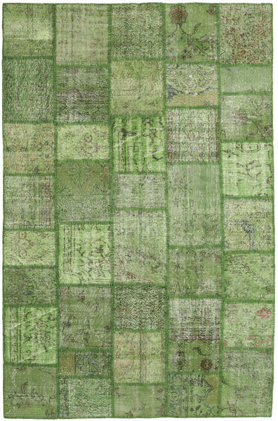 Patchwork Rug 196X302 Authentic  Modern Handknotted Olive Green/Light Green/Dark Green (Wool, Turkey)