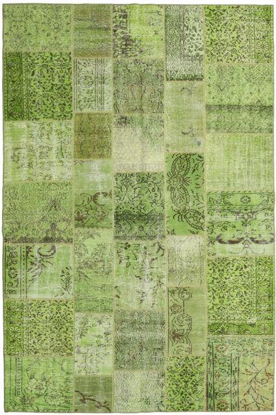 Patchwork Tapete 200X300 Moderno Feito A Mão Verde Claro/Verde Azeitona (Lã, Turquia)