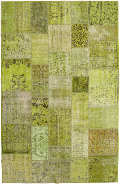 Patchwork Rug 196X304 Authentic  Modern Handknotted Light Green/Dark Green (Wool, Turkey)