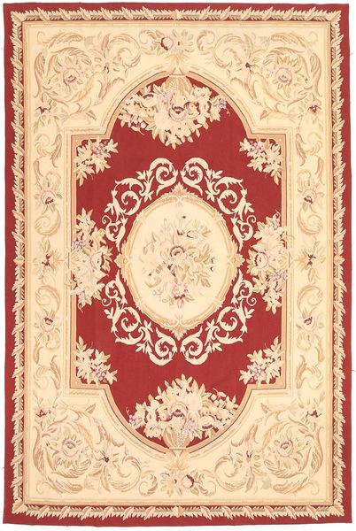 Aubouson Matto 184X281 Itämainen Käsinsolmittu Vaaleanpunainen/Tummanbeige/Tummanpunainen (Villa, Kiina)