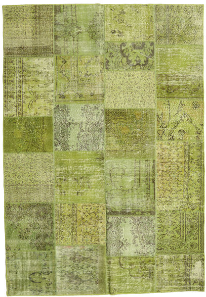 Patchwork Rug 206X298 Authentic  Modern Handknotted Light Green/Olive Green (Wool, Turkey)