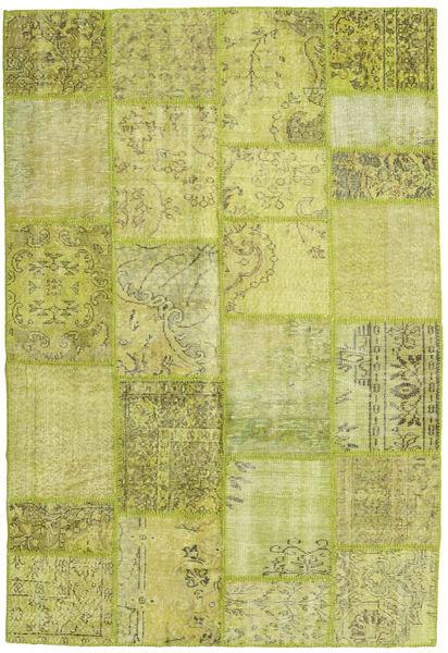 Patchwork Matto 160X236 Moderni Käsinsolmittu Keltainen/Vaaleanvihreä/Oliivinvihreä (Villa, Turkki)