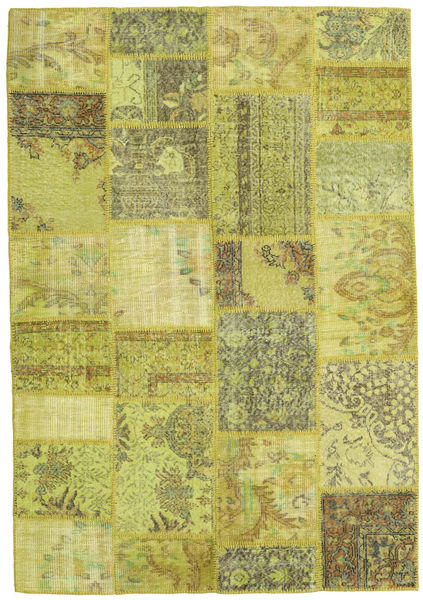 Patchwork Rug 158X230 Authentic  Modern Handknotted Yellow/Olive Green/Light Green (Wool, Turkey)