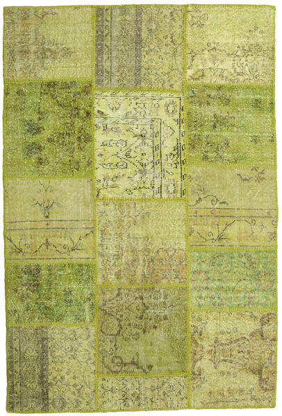 Patchwork Matto 157X234 Moderni Käsinsolmittu Vaaleanvihreä/Oliivinvihreä (Villa, Turkki)