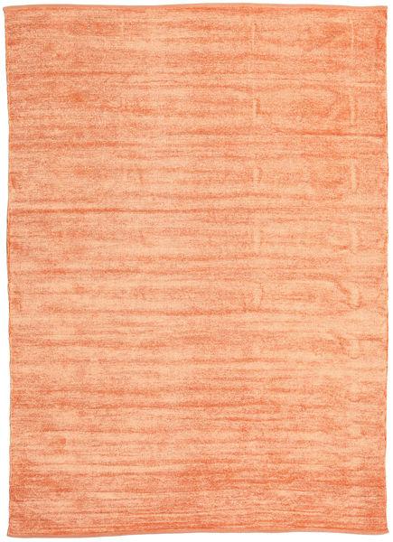 Kelim Chenille - Perzikoranje Vloerkleed 210X290 Echt Oosters Handgeweven Oranje/Donkerbeige ( India)