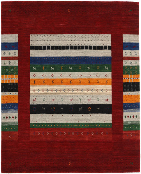 Loribaf Loom Designer Tapis 190X240 Moderne Fait Main Rouge Foncé/Marron Clair (Laine, Inde)