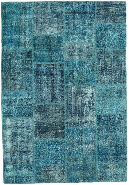 Patchwork Teppich  159X231 Echter Moderner Handgeknüpfter Dunkelblau/Türkisblau (Wolle, Türkei)