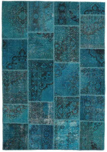 Patchwork Tappeto 159X230 Moderno Fatto A Mano Blu Scuro/Turchese Scuro (Lana, Turchia)