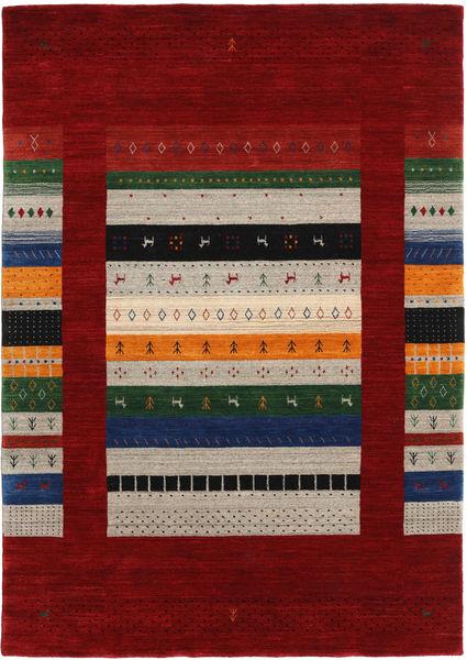 Loribaf Loom Designer Dywan 160X230 Nowoczesny Tkany Ręcznie Ciemnoczerwony/Jasnoszary (Wełna, Indie)