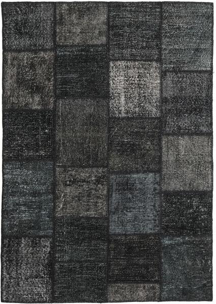 Patchwork Alfombra 159X230 Moderna Hecha A Mano Negro/Gris Oscuro (Lana, Turquía)