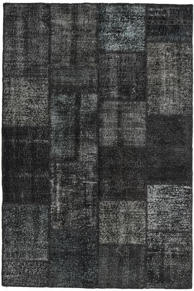 Patchwork Matto 157X234 Moderni Käsinsolmittu Musta/Tummanharmaa (Villa, Turkki)
