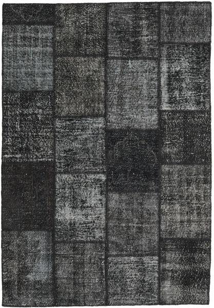 Patchwork Rug 159X232 Authentic  Modern Handknotted Dark Grey/Black (Wool, Turkey)