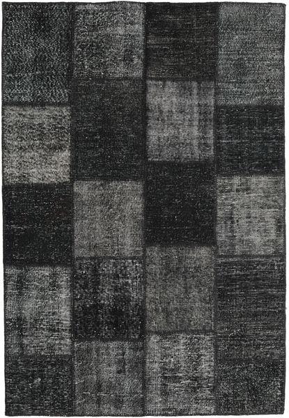 Patchwork Matto 157X232 Moderni Käsinsolmittu Musta/Tummanharmaa (Villa, Turkki)