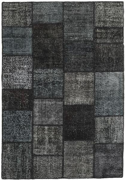 Patchwork Matto 158X231 Moderni Käsinsolmittu Musta/Tummansininen (Villa, Turkki)