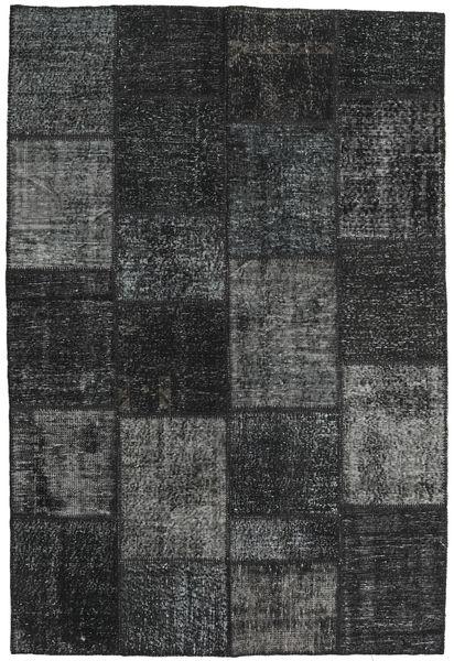 Patchwork Matto 158X234 Moderni Käsinsolmittu Musta/Tummanharmaa (Villa, Turkki)