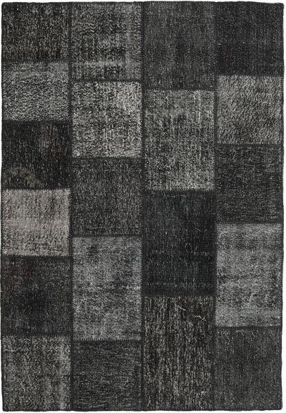 Patchwork Matto 158X231 Moderni Käsinsolmittu Musta/Tummanharmaa (Villa, Turkki)
