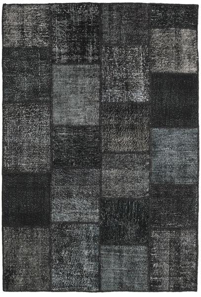 Patchwork Matto 159X232 Moderni Käsinsolmittu Musta/Tummanharmaa (Villa, Turkki)