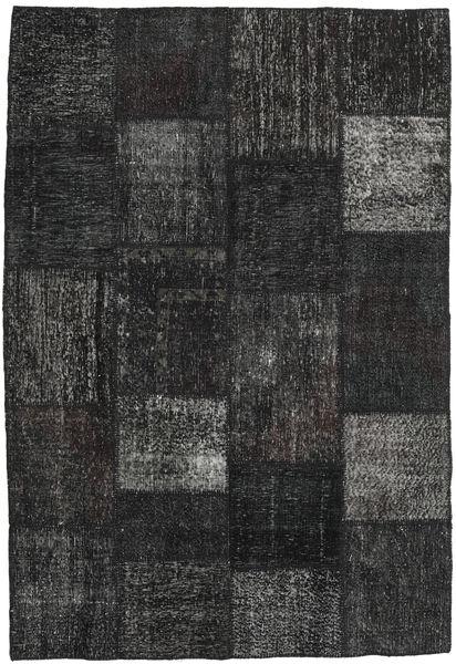 Patchwork Matto 158X232 Moderni Käsinsolmittu Musta/Tummanharmaa (Villa, Turkki)