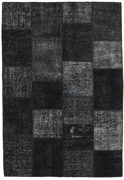 Patchwork Matto 158X232 Moderni Käsinsolmittu Musta/Tummansininen (Villa, Turkki)