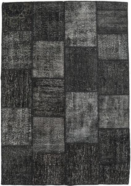 Patchwork Matto 158X230 Moderni Käsinsolmittu Musta/Tummanharmaa (Villa, Turkki)