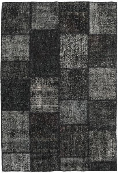 Patchwork Matto 160X232 Moderni Käsinsolmittu Musta/Tummanharmaa (Villa, Turkki)