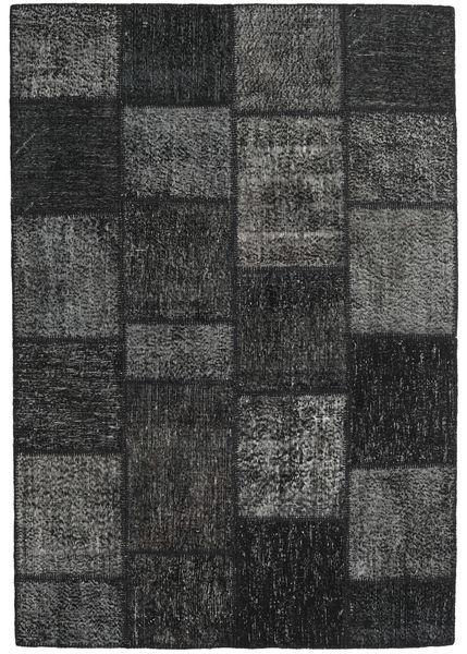 Patchwork Alfombra 160X231 Moderna Hecha A Mano Gris Oscuro/Negro (Lana, Turquía)