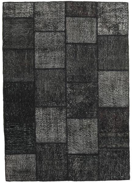 Patchwork Matto 160X231 Moderni Käsinsolmittu Musta/Tummanharmaa (Villa, Turkki)