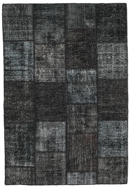 Patchwork Matto 160X232 Moderni Käsinsolmittu Musta/Tummanvihreä (Villa, Turkki)