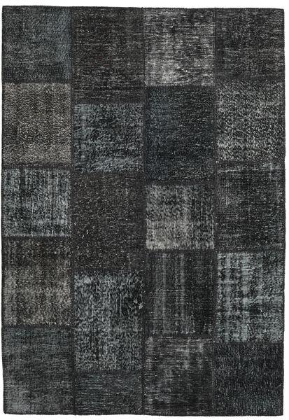 Patchwork Matto 158X230 Moderni Käsinsolmittu Musta/Sininen (Villa, Turkki)