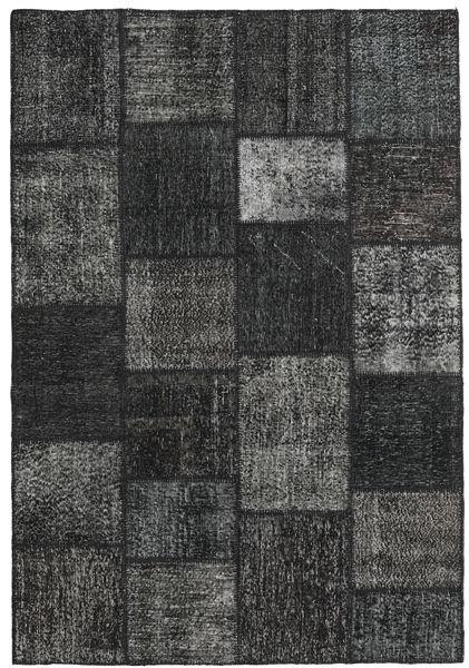 Patchwork Matto 158X232 Moderni Käsinsolmittu Tummanharmaa/Tummanvihreä (Villa, Turkki)