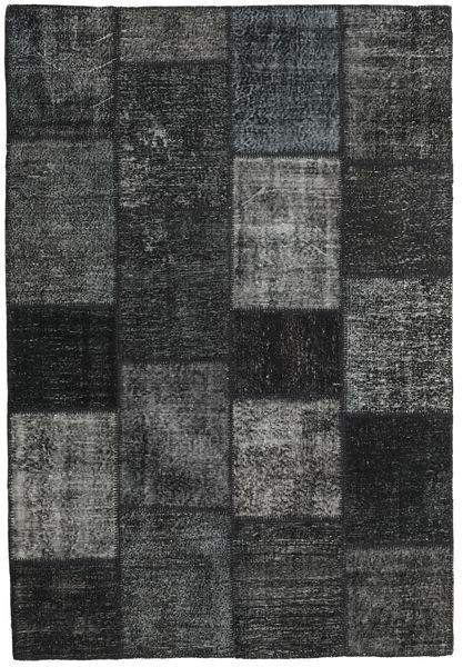 Patchwork Matto 157X231 Moderni Käsinsolmittu Tummanharmaa/Musta (Villa, Turkki)