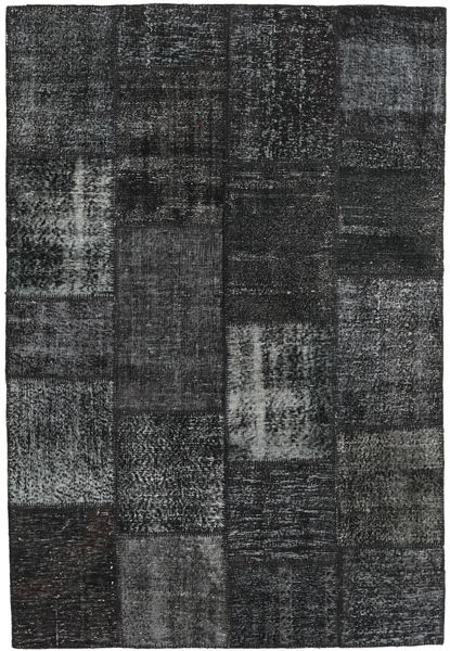 Patchwork Alfombra 159X233 Moderna Hecha A Mano Negro/Gris Oscuro (Lana, Turquía)