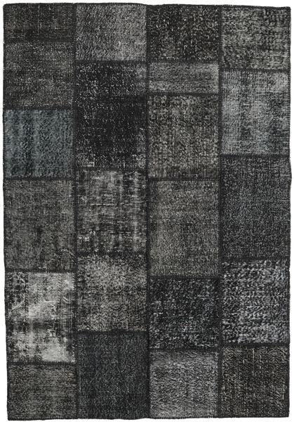 Patchwork Rug 158X232 Authentic  Modern Handknotted Black/Dark Grey (Wool, Turkey)
