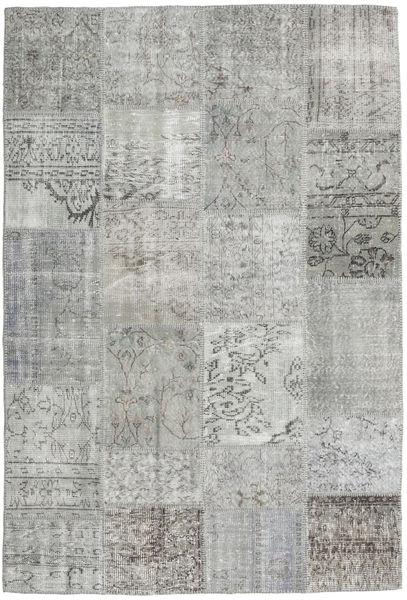 Patchwork Matto 158X233 Moderni Käsinsolmittu Vaaleanharmaa (Villa, Turkki)