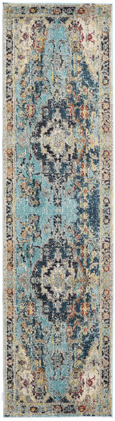 Manami Rug 80X300 Modern Hallway Runner  Light Grey/Turquoise Blue ( Turkey)