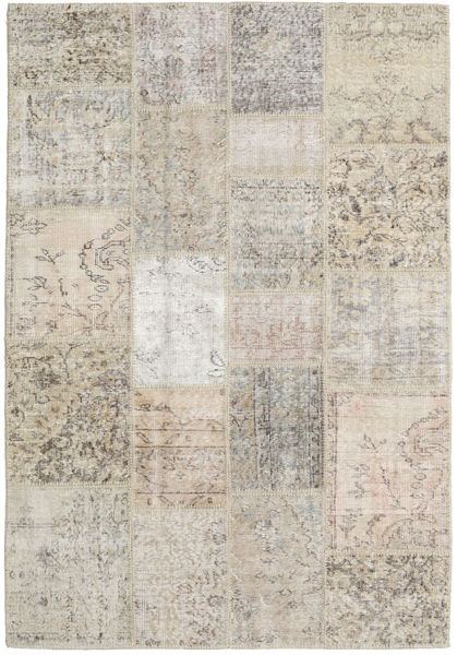 Patchwork Rug 138X202 Authentic  Modern Handknotted Light Grey/Light Brown (Wool, Turkey)