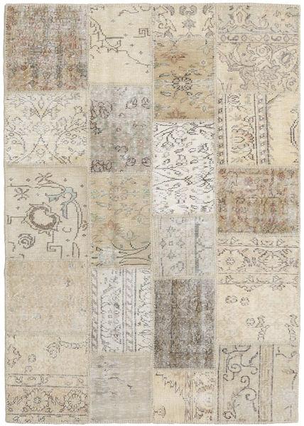 Patchwork Matto 141X201 Moderni Käsinsolmittu Vaaleanruskea/Vaaleanharmaa (Villa, Turkki)