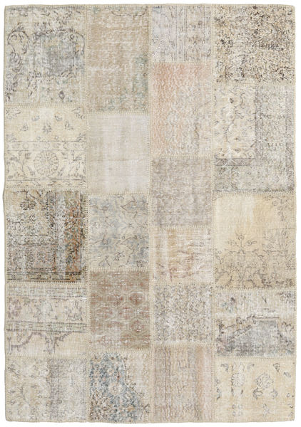 Patchwork Rug 140X201 Authentic  Modern Handknotted Light Grey/Light Brown (Wool, Turkey)