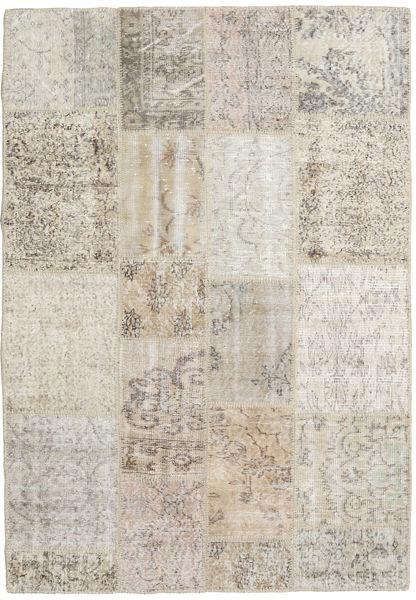 Patchwork Matto 140X201 Moderni Käsinsolmittu Vaaleanharmaa/Vaaleanruskea (Villa, Turkki)