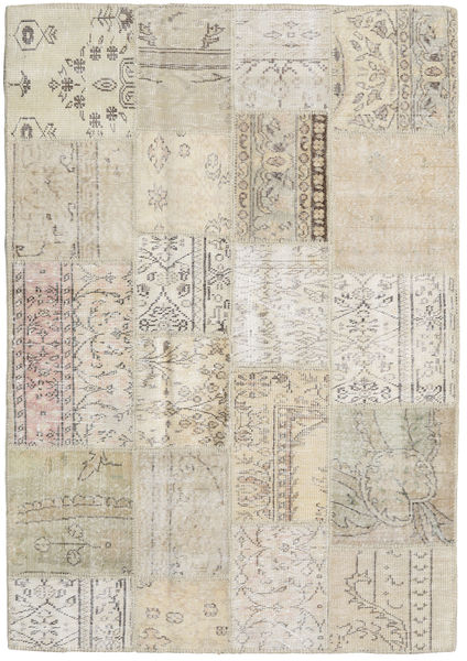 Patchwork Rug 141X202 Authentic  Modern Handknotted Light Brown/Light Grey (Wool, Turkey)