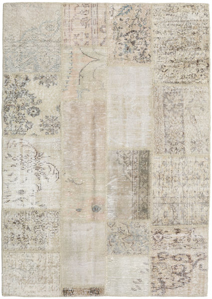 Patchwork Rug 139X198 Authentic  Modern Handknotted Light Grey/Light Brown (Wool, Turkey)