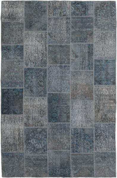 Patchwork Rug 195X303 Authentic  Modern Handknotted Dark Grey/Light Blue (Wool, Turkey)