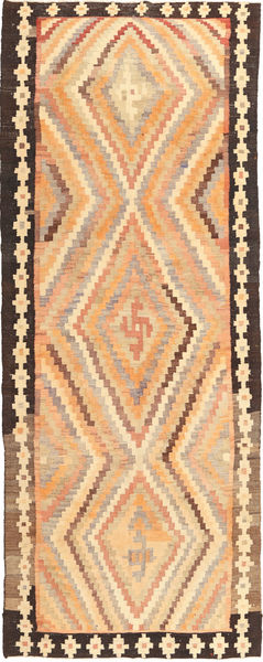 Kilim Fars Rug 155X400 Authentic  Oriental Handwoven Hallway Runner  Light Brown/Dark Beige (Wool, Persia/Iran)