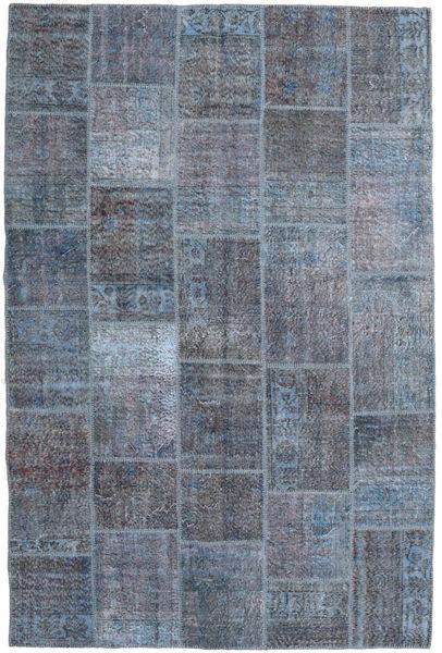 Patchwork Matto 197X300 Moderni Käsinsolmittu Tummanharmaa/Sininen/Vaaleanharmaa (Villa, Turkki)